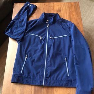 Banana Republic Mens moto blue rain jacket L